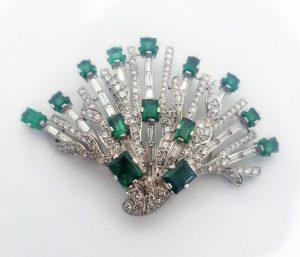 Emerald and Diamond Brooch White BG