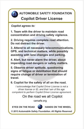 Copilot Drivers License - Automobile Safety Foundation